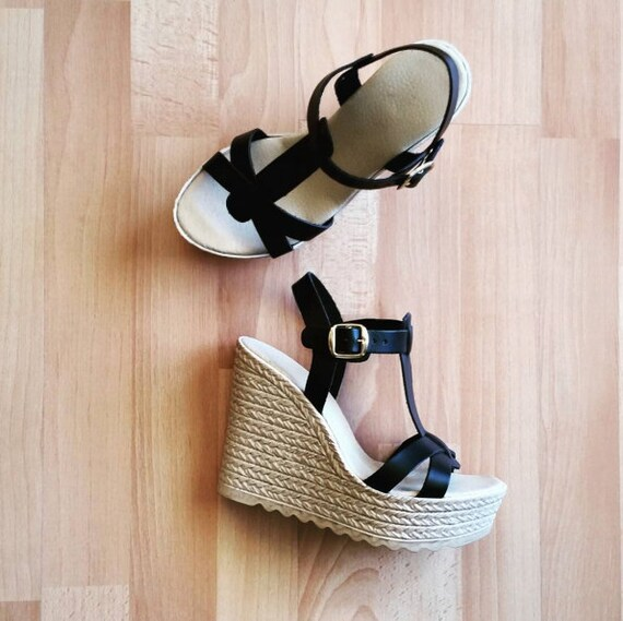 Wedge sandals, Platform sandals, Espadrilles Sandals, Platform Sandals, Greek Leather Sandals,Criss Cross Sandals in Black color leather
