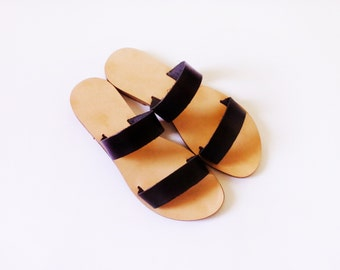 Handmade, Two strap leather slides - More colours available