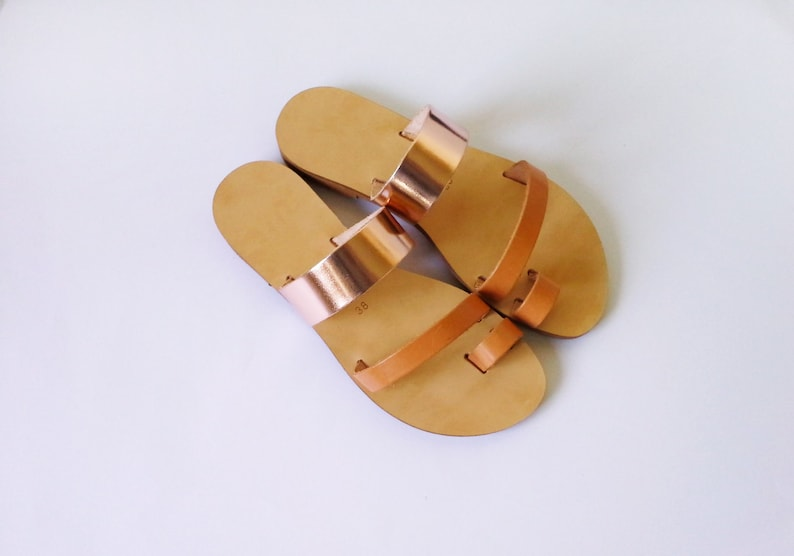 5e80459b447e2 Handmade greek leather sandals in natural and metallic Rosegold color /  leather sandals / greek sandals / mix & match sandals /women sandals
