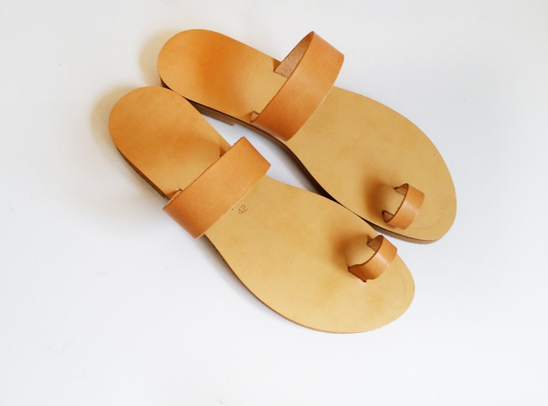 0694938b18c03 Handmade Leather toe ring Sandals in natural colour // slides // toe ring  // greek style sandals// leather sandals // handmade sandals