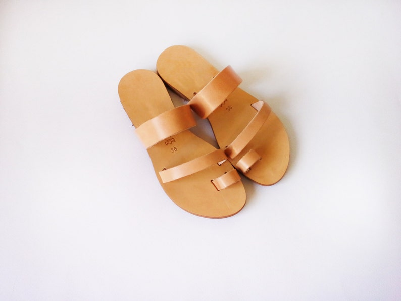 b793813b6372e Handmade leather sandals in variety of Colours / leather slides / two strap  sandals / handmade