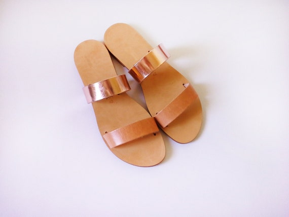 3df12336fbe97 Handmade leather sandals in rose gold and natural leather/ slides /  strappy/ combo / leather slides / flat sandals/ greek sandals / rosegold