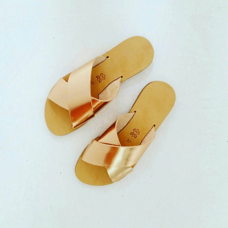 d62b4e4516c93 Metallic Mirror Criss cross Leather Sandals in Rose Gold Leather - More  colours available. Greek sandals, leather women sandals, slides