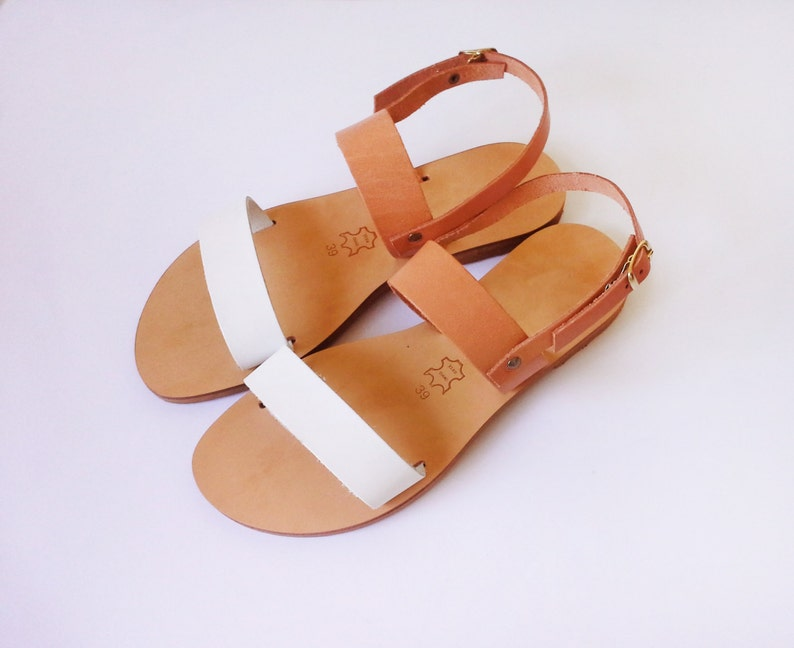 ccde1ae6e7214 Handmade Leather sandals in white and natural compination