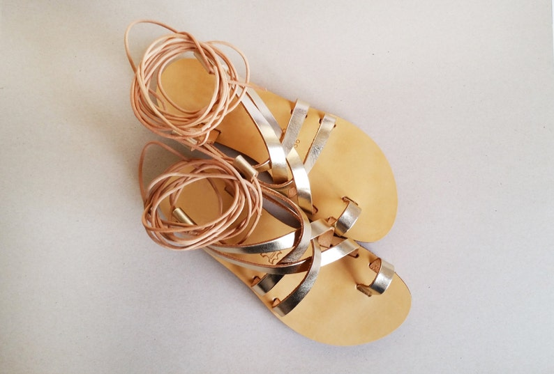 77cc2a1f44559 NEW design - Metallic, mirror, handmade leather gladiator sandals in Gold  colour - More options available