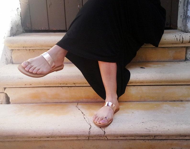 20fe3bcf66a5b Metallic leather Toe ring slides in Rose gold color. Greek women sandals,  Wedding Sandals, flat sandals, slides, handmade sandals
