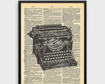 Vintage Typewriter Art Print | Art for Writer, Dictionary Art, Dictionary Print, Gift for Author, English Teacher, Novelist, Stenographer