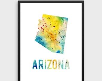 Watercolor Arizona Printable Poster | Arizona Poster, Arizona Art Print, Arizona State Art, Watercolor Art, State Art