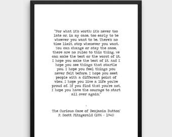 F Scott Fitzgerald Printable Quote 'For What It's Worth' Benjamin Button Instant Download Inspirational Print Hand Typed Life Poster