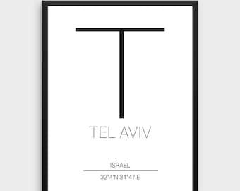 Tel Aviv Printable Poster | Tel Aviv Poster, Tel Aviv Coordinates, Coordinates City Poster, Tel Aviv Print, Israel Print, Instant Download