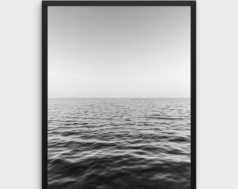 Ocean Print | Ocean Wall Art, Minimalist Wall Art, Black and White Art, Minimalist Print, Nordic Design, Modern Art, Landscape, Photography