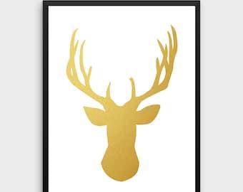 Gold Deer Decor   Deer Poster, Deer Print, Deer, Deer Art, Deer Wall Art, Deer Silhouette, Deer Wall Decor,Wall Art,Wall Print,Printable Art