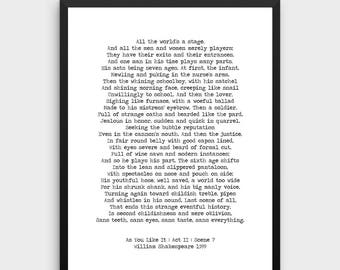 William Shakespeare Printable Quote 'As You Like It' Instant Download 'All The World's A Stage' Minimalist Poster Seven Ages Of Man Print