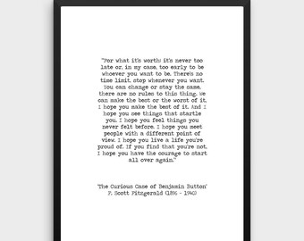 F Scott Fitzgerald Printable Quote 'A Life You are Proud of' Benjamin Button Instant Download Inspirational Print Hand Typed Life Poster