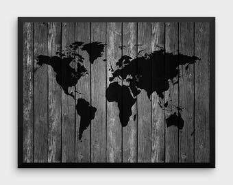 World map decor etsy wood world map poster travel print world map decor world map print world map printable world map wall art large world map gumiabroncs Images