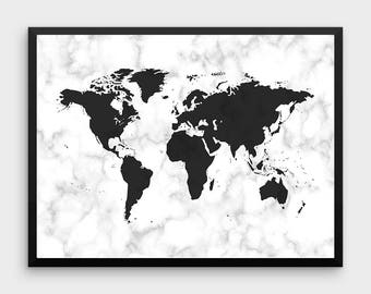 Turquoise world map poster turquoise watercolor blue marble world map art print world map decor world map wall art bedroom print marble art marble effect bedroom art black and white gumiabroncs Choice Image
