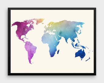 Pastel world map etsy watercolor world map print watercolor travel map large world map world map watercolor pastel world map poster fine art prints gumiabroncs Choice Image