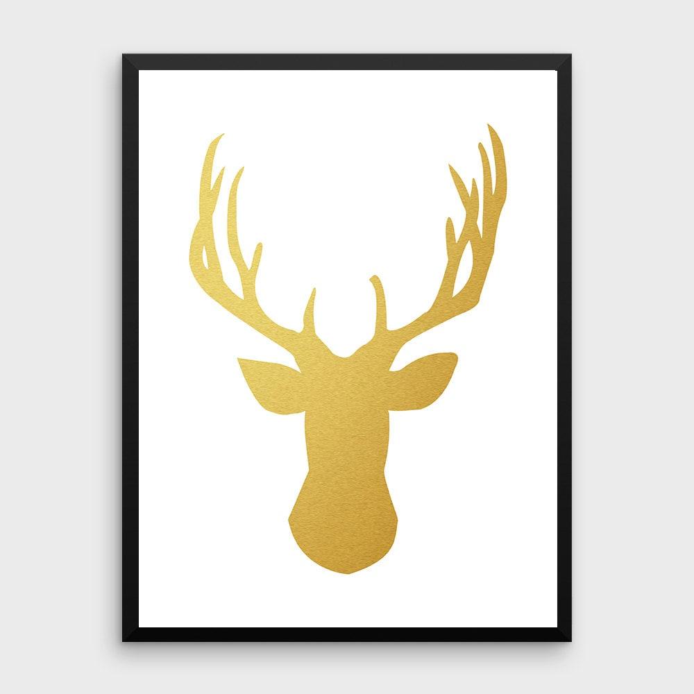 Gold Deer Decor Deer Poster Deer Print Deer Deer Art | Etsy