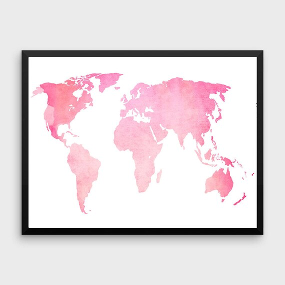 Pink World Map Poster Large World Map Print Pink Map Etsy - Pink world map poster