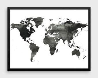 Black world map etsy world map poster water color world map world map print black and white gumiabroncs Choice Image