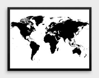 Large black and white world map canvas black and white map of world map wall art large world map world map poster printable world map black world map instant download gumiabroncs Gallery