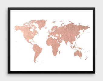 Rose Gold World Map Poster | Large World Map Print Faux Foil Map Printable World Map Art Travel Decor Pink Map Print DIGITAL FILE