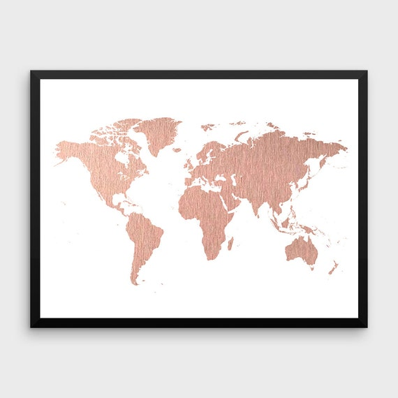 Rose Gold World Map Poster Große Weltkarte drucken Faux | Etsy