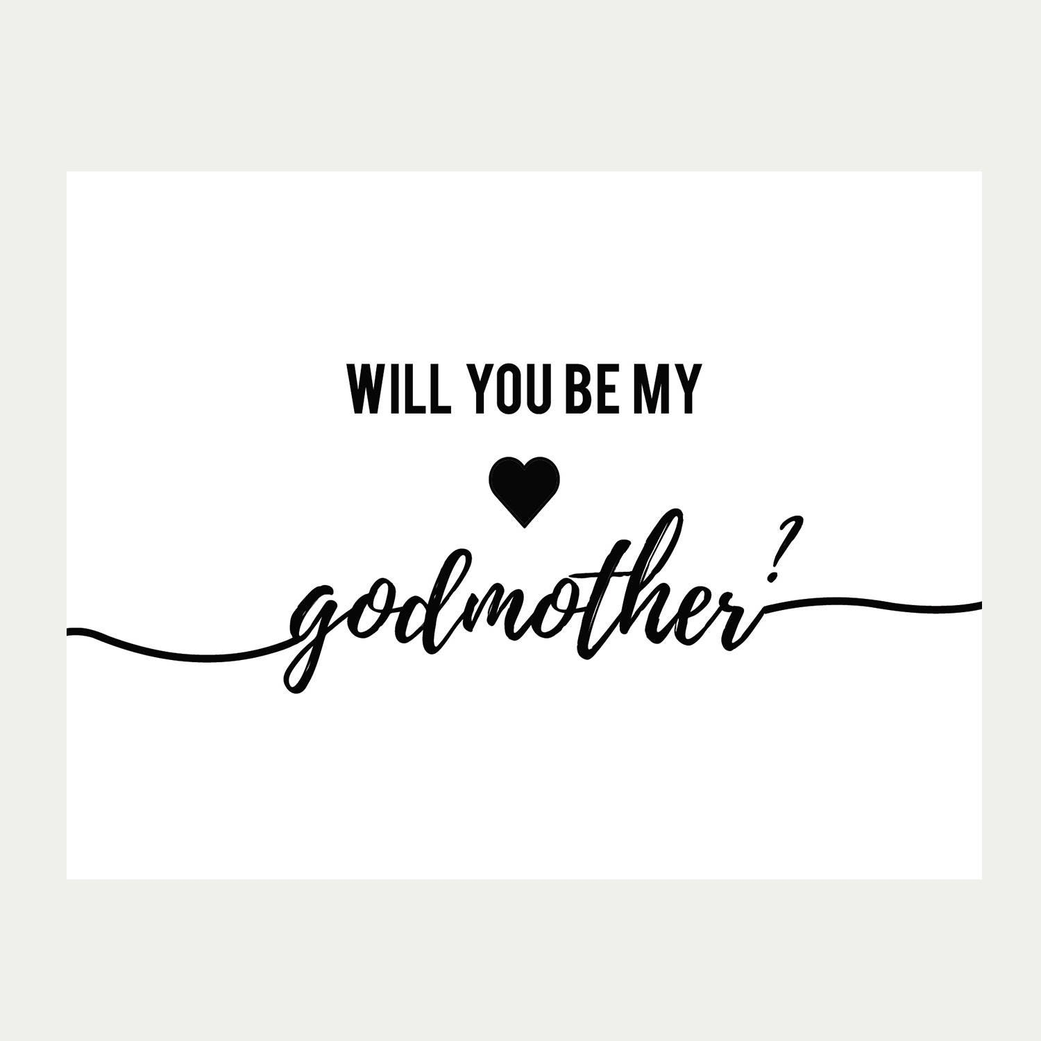 Will You Be My Godmother Card Printable Baptism Card Etsy