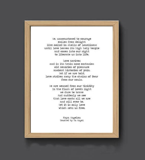 Maya Angelou Print Touched By An Angel Literature Poster Etsy
