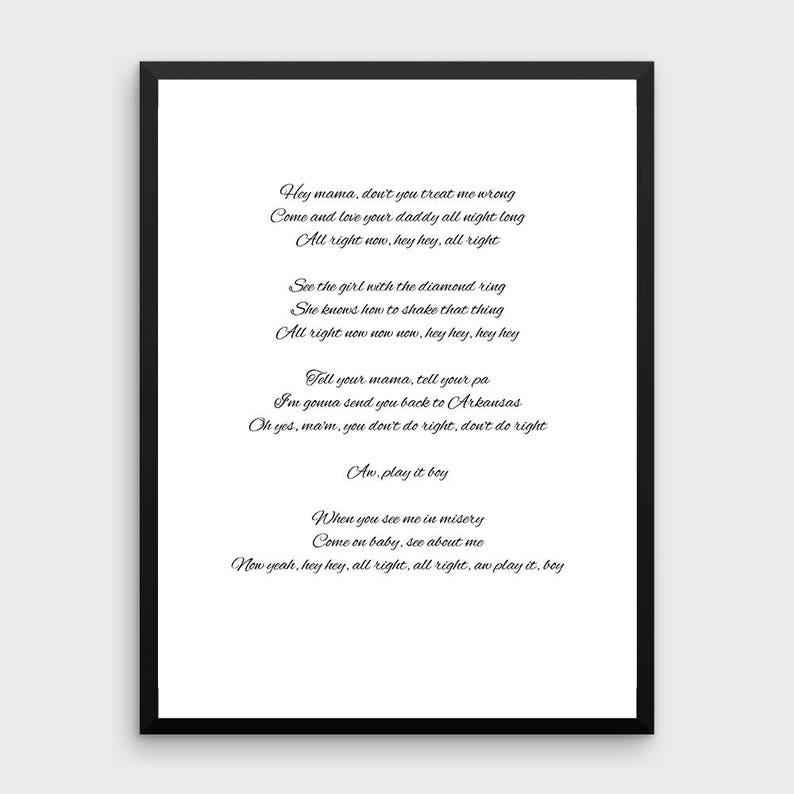 Custom Song Lyrics Printable | Digital Download, Custom Bible Verse, Custom  Text, Custom Poem, Custom Scripture, Custom Quote