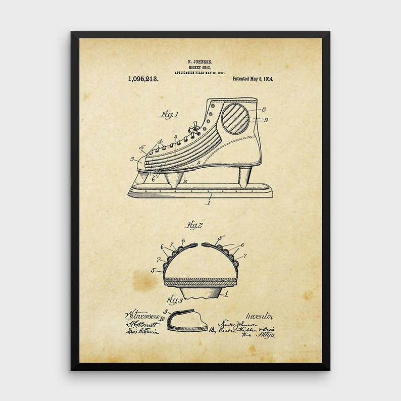 75e052dffa9ee Vintage Ice Hockey Shoe Patent Print | 1914 Ice Hockey Shoe Design, Hockey  Skate, Patent Art, Printable Art, INSTANT DOWNLOAD