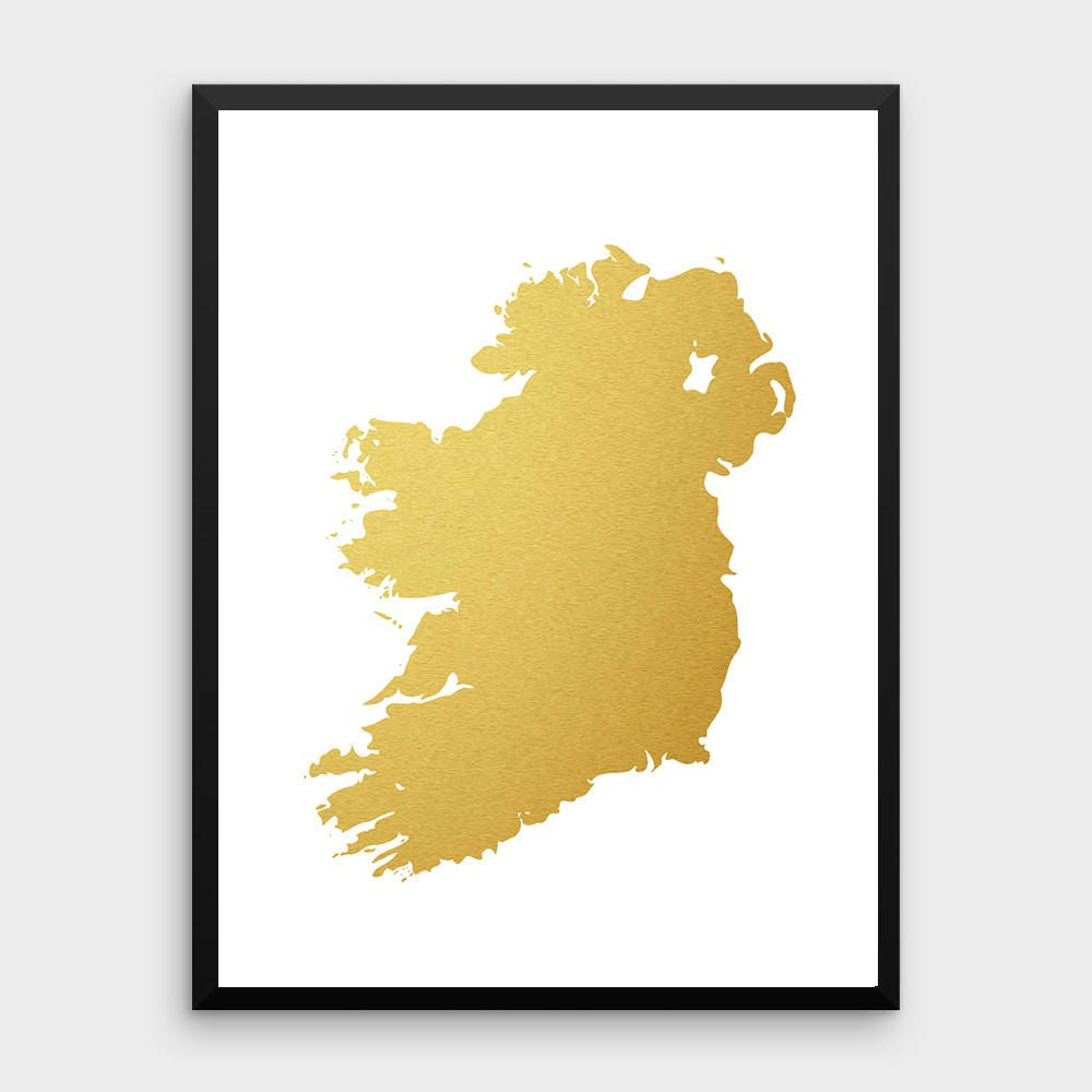 Gold Foil Ireland Map Printable Map Wall Art Ireland Map | Etsy