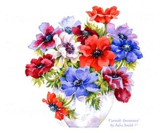 Watercolour Limited Edition Print CORNISH ANEMONES, Wall Art Flower Print, Original Watercolour Flower Painting, Original Flower Art Print
