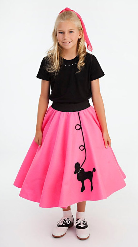 1950/'s Pretty Pink Poodle Skirt Set Fifties Child Costume