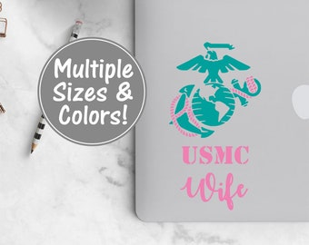 USMC Wife Laptop Decal, USMC Wife Car Decal, USMC Decal for Yeti, Marine Yeti Decal, Marine Corps Car Decal Military Gifts Marine Wife Decal