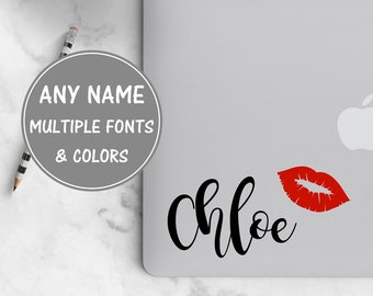 Cursive Name Sticker for Laptop, Lip Decal Calligraphy Decal Personalized Name Decal, Glitter Decal Laptop Sticker Beauty Decal Glitter Name