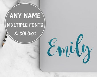 Cursive Name Sticker for Laptop, Calligraphy Decal Personalized Name Decal Vinyl Decal Name Custom Vinyl Lettering, Glitter Name Decal