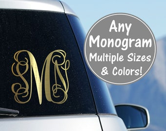 Vine Monogram Decal Monogram Vinyl Car Decal Vine Monogram Cursive Monogram Fancy Monogram Script Monogram Glitter Car Decal Sticker for Car
