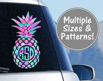 Pineapple Monogram Patterned Decal Pineapple Monogram Car Decal Pineapple Decal for Yeti Decal for Women Pineapple Decal Monogram for Laptop