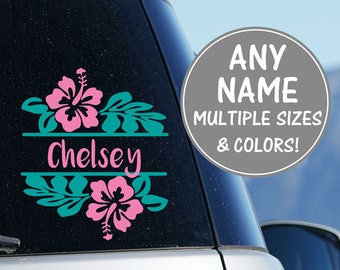 Hibiscus Flower Decal Car Window Decal, Car Name Decal, Hibiscus Flower Car Stickers for Girls, Glitter Flower Car Sticker, Floral Car Decal