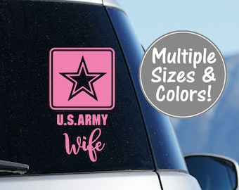 Army Wife Car Decal, Army Wife Decal for Yeti Tumbler, Army Wife Gift, US Army Wife Laptop Decal, U.S. Army Wife Yeti Decal, Military Decal