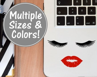 Lips and Lashes Sticker for Laptop, Lashes Decal Lash Decal, Beauty Decal Glitter Decal for Women, Preppy Laptop Decal Lip Sticker Beauty