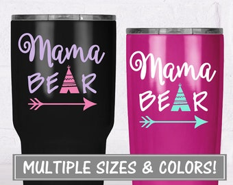 Mama Bear Decal for Tumbler Stickers, Mom Decal for Yeti Decal for Women, Bear Decal Glitter Decal for Tumbler, Yeti Decal for Women Glitter