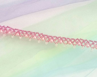 """Ombre pink beaded choker. 13""""-14"""" adjustable length. light weight/elegant/formal/party/work/casual"""