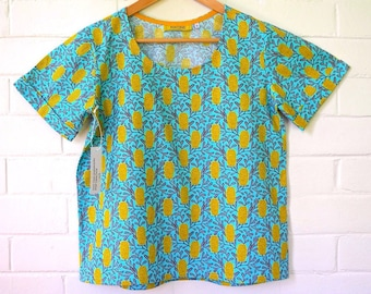Sale! L & XL only Turquoise Banksia Rockabilly Cotton Blouse/ Cotton Smock top/ Boxy Tee/ floral tee/ Cotton shirt/tee shirt/ T-shirt/ Woman