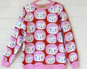 Pink Kids Printed Sweatshirt. Kids Sweater. Kids Clothes. Toddler clothes Rockabilly Kid. Hipster kid. Toddler top. Girl top.