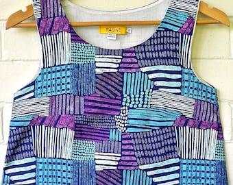 Sale! Linen Dress. Tank Dress in Linen Cotton blend. Tank Dress Contemporary Print. Swing Dress. 1980s Dress. Sleeveless dress. Rockabilly.