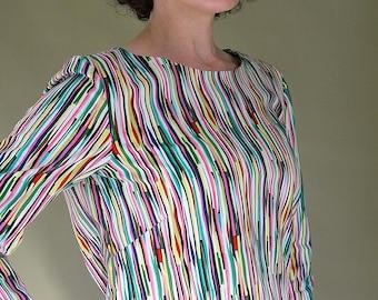 Sale! Rainbow Stripe Blouse.  Smock top.  Rainbows.  Pop Over Shirt. Mid Century Fabric. Retro Blouse. rockabilly blouse. Cotton shirt