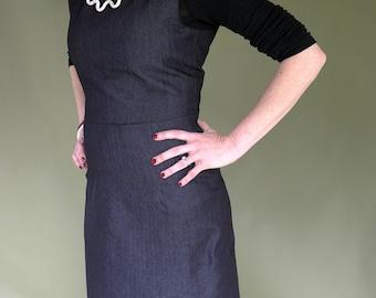 Pinafore Dress. Apron Dress.  Denim Dress. Over dress. Casual dress. Rockabilly Dress. Denim Shift dress. Pencil Skirt.