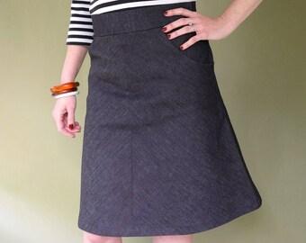 Denim Skirt. A line Skirt. Dark Denim Skirt. Pencil Skirt. Slant Pocket Skirt. Straight Skirt Nautical Style. Rockabilly Style. Ladies skirt